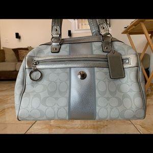 Medium silver satchel by Coach